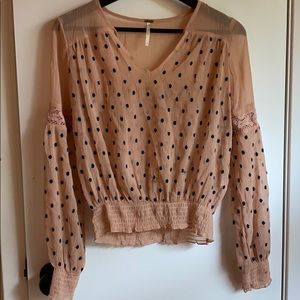Free People Sheer Embroidered Long Sleeve Blouse